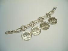 Bracciale in Argento 925 con 4 monete da 500 lire in Argento - 3 Caravelle -