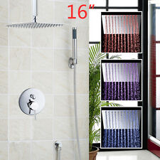 "16"" Ultra-Slim LED Bathroom Square Rainfall Shower Head Faucets Set Wall Mounted"