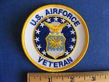 u.s. airforce veteran patch  (round, yellow border)
