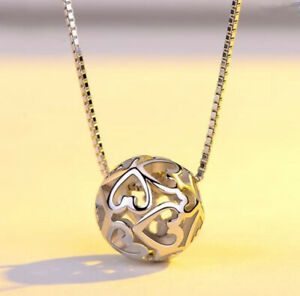 Heart Ball Pendant 925 Sterling Silver Chain Necklace Womens Jewellery Xmas Gift