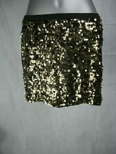 Women's Gold Colour Sequin Fronted Mini Skirt Waist Size Small