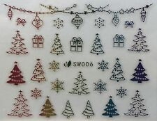 Nail Art 3D Decal Stickers Multicolored Christmas Trees Presents Snowflake SW006