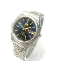 Vintage Orient Automatic Day Date ORIGINAL Japan Men's Crystal Dial Wrist Watch