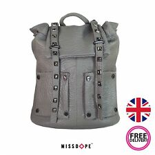 NEW DARK GREY FAUX LEATHER STUD BACKPACK SHOULDER SCHOOL TRAVEL RUCKSACK GIRLS
