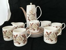 Vintage Queen Anne 'AUTUMN ROSE' Bone China Coffee Set For 5