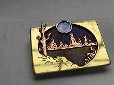Vtg Native American Design Landscape Two Tone Gold Silver Stained Glass Brooch