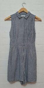 JEANSWEST Designer Label Womens BLue White Striped Playsuit Jumpsuit, Size 10