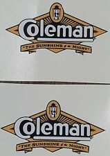 TWO (2) NEW COLEMAN SUNSHINE OF THE NIGHT STICKER DECAL LANTERN STOVE SMALL REPL