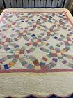 OMG%21+1934+Antique+Handmade+Hand+Quilted+Feed+Sack+Double+Wedding+Ring+Quilt+%23157