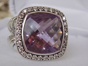 $1825 DAVID YURMAN SS MOONLIHGT ICE AMETHYST DIAMOND RING