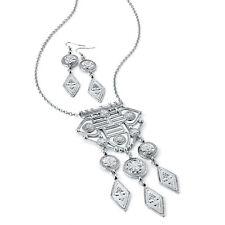 "32"" long silver tone tribal style chain necklace - pendant & earrings set"