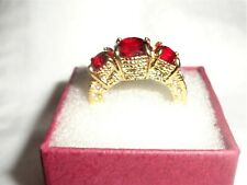 Womens Yellow Gold Filled Red Cubic Zirconia ring size 6