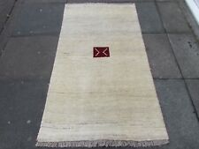 Traditional Tribal Hand Made Persian Oriental Gabbeh Wool Cream Rug 164x92cm