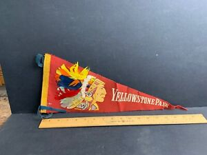 Vintage Felt Pennant, Yellowstone Park, Feathers, Native American Chief