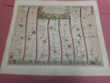 100% ORIGINAL BUCKINGHAM TO BRIDGNORTH ROAD MAP BYJOHN OGILBY C1679 HAND COLOUR