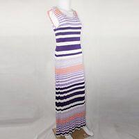 Pjk Patterson J Kincaid Maxi Sleeveles Stripes Dress Purple & Orange Size Medium