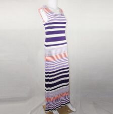Pjk Patterson J Kincaid Maxi Sleeveles Stripes Dress Purple & Orange Size Medium