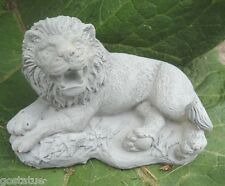 Latex small laying lion mold plaster cement casting garden mould