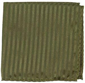 New Men's Poly Woven pocket square hankie only olive green tone on tone stripes