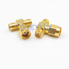 T type RP-SMA male plug to 2 double SMA female jack RF Connector Adapter
