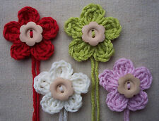 x4 Crochet Flowers w/WOODEN button - CHRISTMAS SHABBY CHIC mix Appliqué Toppers
