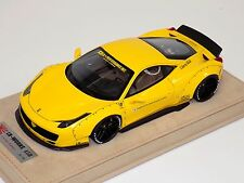 1/18 Ferrari 458 Liberty Walk LB Performance in Yellow with wheels B N BBR or MR
