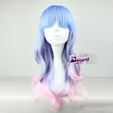 55CM Lolita Blue Purple Mixed Pink Long Curly Gradient Anime Cosplay Wig + Cap