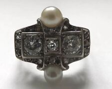 Antique Diamond 18ct Gold Pearl Ring