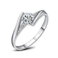 Ladies Engagement Ring Round Cut Cz Crossover Set Shoulders Wedding Valentine