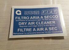 ADESIVO FIAT ABARTH COPERCHIO FILTRO ARIA 124 SPIDER RITMO 131 UNO TURBO