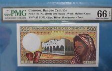 1994 Comoros 500 Francs PMG66 EPQ  <P-10b>