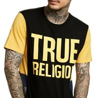 True Religion Men's Logo Graphic Side Panel Tee T-Shirt in Black/Yellow/Blue