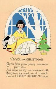 Art Deco  Children Christmas Greetings pc used 1920 Cinderella stamp Volland