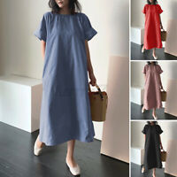 ZANZEA Womens Short Sleeve O Neck Solid Casual Loose Kaftan Long Dress Plus Size