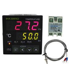 24V AC/DC Digital Temperature Temp Controller PID+K Sensor Probe+40DA SSR New