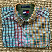 TOMMY HILFIGER MULTICOLOUR CHECK VINTAGE SHORT SLEEVE SUMMER SHIRT SIZE M MEDIUM