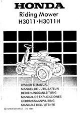 HONDA Ride Su Tosaerba H3011 H3011H Proprietari Manuale 89 EDIZIONE, RISTAMPA Pettine vincolato