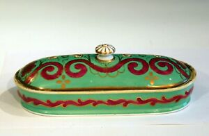 Antique English Staffordshire Pottery Soap Butter Toothbrush Covered Dish Box