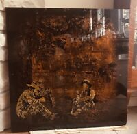 JACK WHITE ART GOLD LEAF WESTERN  GLASS FOIL VINTAGE