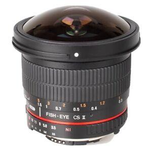 Samyang F3.5/8mm 1:3.5 8mm UMC Fish Eye CS II Lens - Canon [Specs in Photo]
