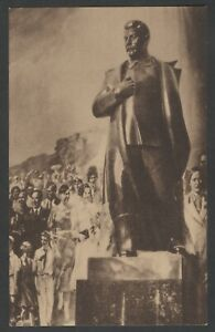 1939 Giant Stalin figure at USSR pavilion New York World's fair vintage postcard