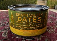 c.1930 Furnace Creek Death Valley Dates (Fruit) Tin Can Inyo CA