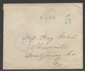 **CSA Cover, Charlottesville, VA, Handstamped, Paid 5, 7/5/1861
