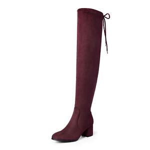 Women's Ladies Thigh High Boots Over The Knee Block Mid Heel Boots