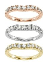 0.64 Carat Curved Wedding Ring Band selectable 14K White, Yellow or Rose Gold