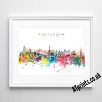 AMSTERDAM SKYLINE MAP Print Poster Watercolour Framed Canvas Wall Art Gift City