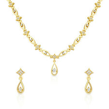 Gold Plated Magestic Grace Necklace Set with Crystals by Oviya NL2103071G