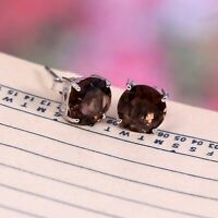 Natural Smoky Quartz Minimalist Earrings Studs Smokey Topaz 925 Sterling Silver