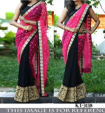 Beautiful Designer Party Wear Black & Pink Color Half & Half  Net Fabric saree