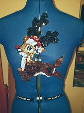 Sequin Net rudolph reindeer xmas embroidered lace applique motif patch costume